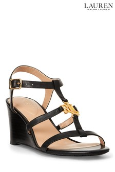 Lauren Ralph Lauren® Leather Monogram Logo Charlton Wedge Sandals
