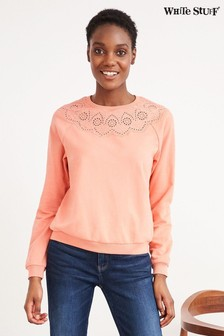 White Stuff Pink Broderie Sweat Top