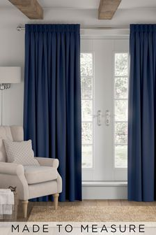 Cotton Navy Blue Made To Measure Curtains