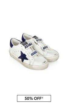 حذاء رياضي جلدي أبيض أطفال