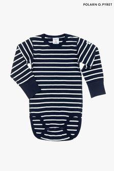 Polarn O. Pyret Blue Organic Cotton Striped Bodysuit