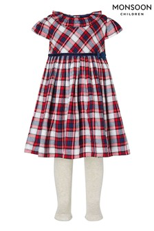 Monsoon Red Baby Tartan Dress And Tights