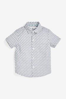 White Elephant Print Short Sleeve Shirt (3mths-7yrs)