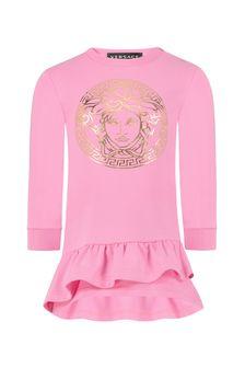 فستان قطن وردي للبيبي البنات