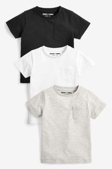 Black/Grey 3 Pack Plain T-Shirts (3mths-7yrs)