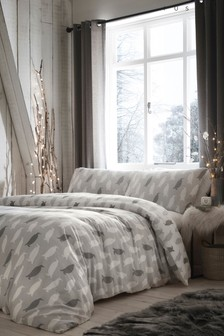 Brushed Cotton Penguin Silhouette Duvet Cover and Pillowcase Set by Fusion