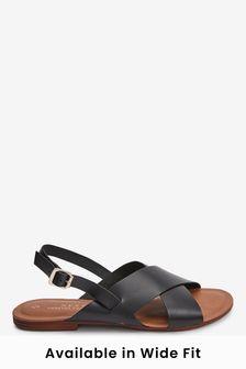 Black Regular/Wide Fit Forever Comfort® Cross Front Slingbacks