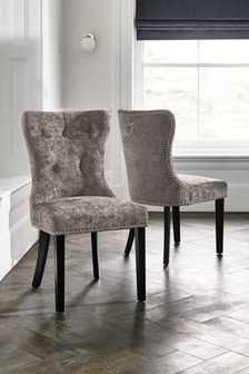 Distressed Velour Grey Set of 2 Blair Dining Chairs with Black Legs