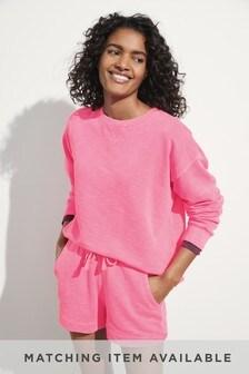Pink Neon Cotton Sweatshirt