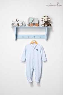 The Essential One Baby Boys Sleepsuit In White/Aqua Stripe