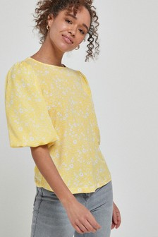 Yellow Floral Print Puff Short Sleeve Blouse