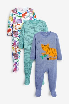 Green 3 Pack Tiger Sleepsuits (0mths-2yrs)