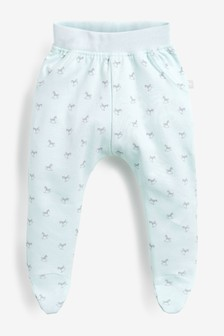 The Little Tailor Blue All Over Print Rocking Horse Jersey Slouch Pants