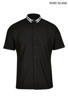River Island Black Collar Muscle Shirt