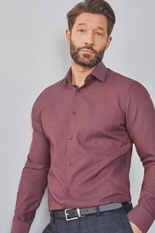 Raspberry Slim Fit Single Cuff Signature Shirt with Geometric Trim