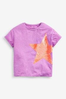Purple Flippy Sequin Fluro Star T-Shirt (3-16yrs)