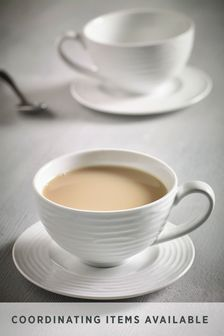 Set of 2 Teacup and Saucers Malvern Embossed