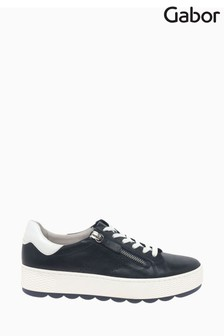 Gabor Quench Midnight White Leather Trainers