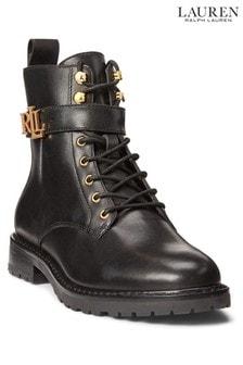 Lauren Ralph Lauren Black Elridge Leather Boots