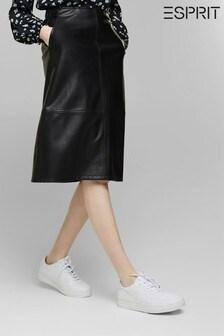 Esprit Black PU Midi Skirt