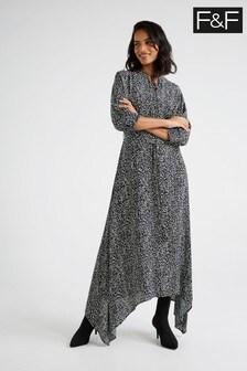 F&F Monochrome Print Shirred Midi Dress