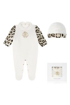 Girls Ivory & Leopard Cotton Babygrow Gift Set