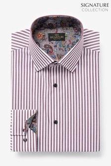 Burgundy Stripe Regular Fit Single Cuff Trim Detail Signature Shirt