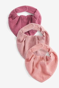 Pink 3 Pack Muslin Dribble Bibs (Younger)