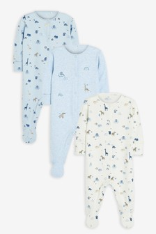 Pale Blue 3 Pack Safari Sleepsuits (0mths-2yrs)