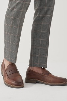 Brown Waxy Leather Loafers