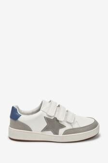 White Triple Strap Star Shoes