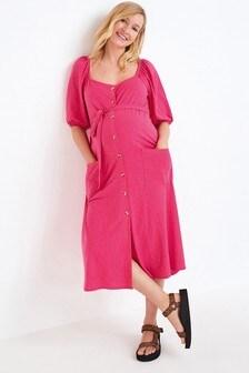 Pink Maternity/Nursing Button Through Midi Dress