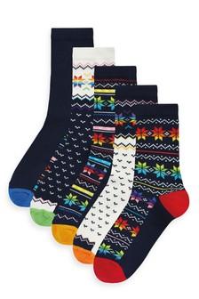Rainbow Fairisle Pattern Ankle Socks Five Pack