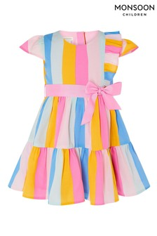 Monsoon Pink Baby Candy Stripe Dress