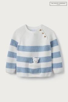 The White Company Blue Stripe Jumper With Pocket Toy