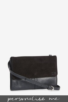 Black Personalised Leather Across Body Bag
