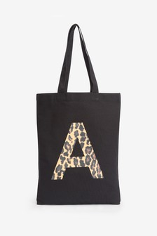Black Animal Organic Cotton Reusable Monogram Bag For Life