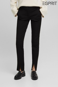 Esprit Black Slim Trousers With Split Hem
