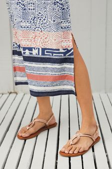 Rose Gold Regular/Wide Fit Forever Comfort® Double Plait Toe Thong Sandals