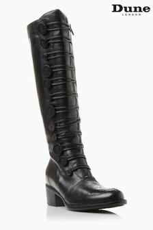 Dune London Pixie D Black Button Detail Leather Knee High Boots