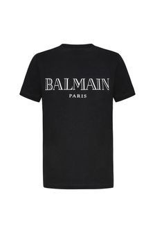Boys Black Cotton Logo Print T-Shirt