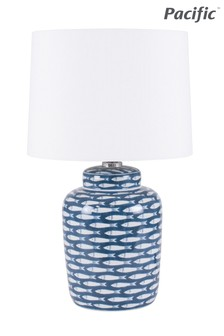 Schoal Blue/White Fish Detail Ceramic Table Lamp by Pacific Lifestyle