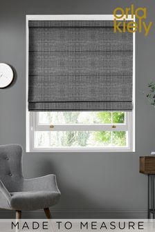 Scribble Gunmetal Black Made To Measure Roman Blind by Orla Kiely