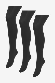 Black 100 Denier Opaque Tights Three Pack