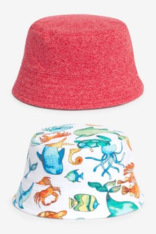 Multi 2 Pack Sea Life Bucket Hats (0mths-2yrs)