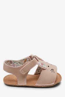 Pink Bunny Pram Sandals (0-18mths)