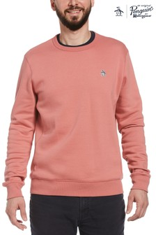 Original Penguin Pink Long Sleeve Sticker Pete Fleece Crew Sweatshirt