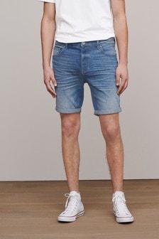 Light Blue Slim Fit Premium Wash Denim Shorts With Stretch
