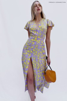 French Connection Purple Islanna Crepe Printed Midi Dress