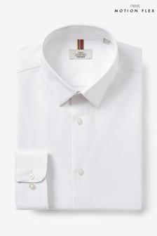 White Regular Fit Single Cuff Cotton Stretch Motion Flex Shirt